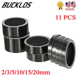 """11PCS Stem Washers Carbon 6 Sizes Headset Spacers 1-1/8"""" MTB Bike Bicycle Fork"""