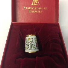 Rare Staffordshire Enamels Thimble Royal Wedding 1981 Charles & Diana Boxed
