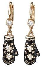 £30 Snowflake Fairisle Gold Black White Drop Earrings Swarovski Elements Crystal