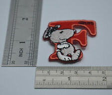 "LETTER F SNOOPY ALPHABET 1 1/2"" 4cm Sew Iron on Cloth Patch Applique Embroidery"