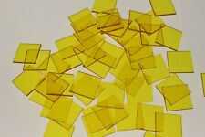 50 x SQUARE TRANSPARENT YELLOW COLOUR PLASTIC COUNTER CHIPS - FREE UK POST