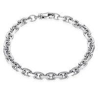 MATERIA Herren Armband 925 Silber Ankerkette rhodiniert + diamantiert 6mm breit