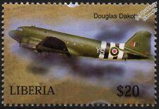 WWII Douglas DAKOTA (D-Day Livery) Transport Aircraft Stamp (2004 Liberia)