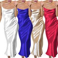 Women Summer Dress Satin Sleeveless Sexy Backless Evening Party Maxi Dress Gold
