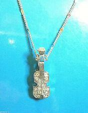 VIOLIN pendant -  necklace , pendant (Silver tone) with rhinestones GIFT BOXED
