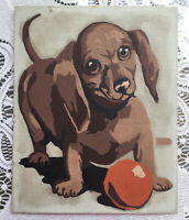 Vintage Dachshund Puppy Dog Paint By Number Completed Unframed Green Brown Ball