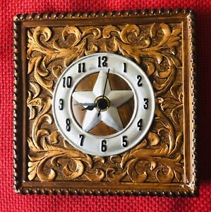 """Western Square 6"""" Desk Clock with a Silver Texas Star Design  Brown Background"""