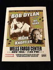 Bob Dylan-Mark Knopfler-Konzert Flyer/Flugblatt-Wells Fargo Center-Philadelphia