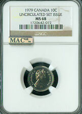 1979 CANADA 10 CENTS NGC MAC MS68 PQ 2ND FINEST REGISTRY SPOTLESS  *