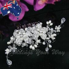 SALE Vintage Style Bridal Hair Comb Rhinestone Crystal Pearl Wedding Formal HC-1