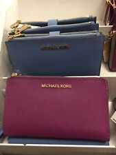 ★ MICHAEL KORS * Jet Set DoubleZip Leather Large Wallet Wristlet - Pomegranate ★