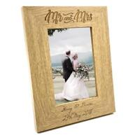 Personalised Engraved Mr and Mrs Wooden Photo Frame Wedding Gift FW139
