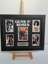 UNIQUE PROFESSIONALLY FRAMED, SIGNED GUNS N ROSES PHOTO COLLAGE WITH PLAQUE.