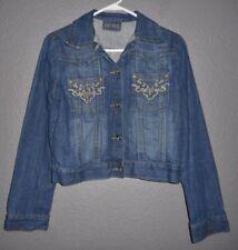 Petrol Katie Women's Blue Jean Denim Jacket Embroidery Stretch Button Up Sz M