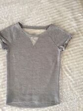 JUSTICE girls Size 14 Sweater top shirt Short Sleeve silver ivory lacy bling
