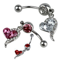 1pcs Rhinestone Crystal Heart Barbells Belly Button Rings Body Piercing U6W3