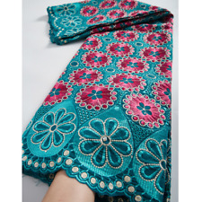 5yards Embroidery Nigerian Lace Fabric African Swiss Voile Cotton Material