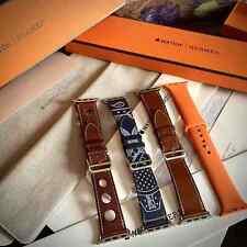 Apple watch Hermès Hermes 42 44 deployed buckle leather silicone brown navy oran