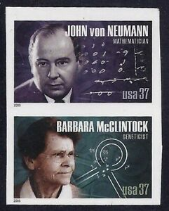 """3906 & 3908a - Rare Imperf Error Pair """"American Scientists"""" Mint NH"""