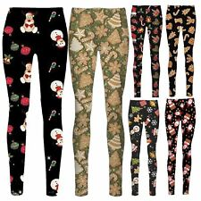 Ladies Christmas Khaki Snowman Santa Father Baby Bear Reindeer Flakes leggings
