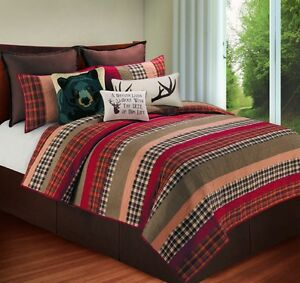 Hillside Haven Queen Size Lodge Quilt Cabin Patchwork Quilted Cabin Bedspread