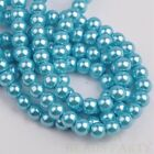 50pcs 8mm Pearl Round Glass Loose Spacer Beads Jewelry Making Lake Blue