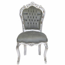 CHAIRS FRANCE BAROQUE STYLE DINING ROYAL CHAIR SILVER / GREY #60ST5