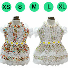 Summer Floral Dog Dress Flowers Lace Princess Skirt Puppy Dog Cat Party Outfits