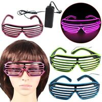 El Wire Fashion Neon LED Light Up Shutter Shaped Glasses Rave Costume Party New