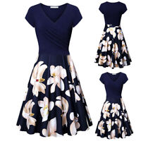 Women Short Sleeve Cross V- Neck Dresses Vintage Party Flared A-Line Mini Dress