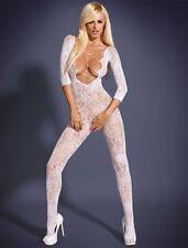 Sexy Dame Netz - Bodystocking - Reizwäsche Dessous - (weiß)