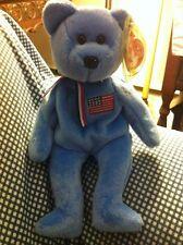 "Stocking Stuffer Beanie Baby Bear ""America"" 2001 9/11 Tribute Bear Blue"