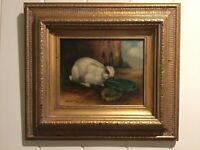 C. Buronson Rabbit Oil Painting