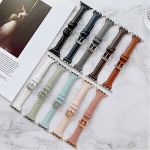 Genuine  Leather Thin Apple Watch Band For iWatch Series 7 SE 6 5 4 3 2 38-45MM