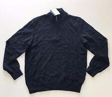 NEW Calvin Klein Mens Quarter Zip Long Sleeve Knit Sweater Navy Size M Medium