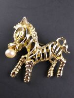 Vintage Zebra Brooch Gold Tone with Faux Pearl in Mouth 1960s?