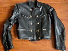 Vtg MARITHE FRANCOIS GIRBAUD Avirex Black Leather Military Jacket Wms L