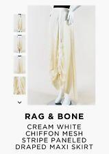 Rag and Bone Cream White Chiffon Draped Maxi  Skirt ( $450), Size 8