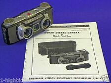 Vintage 1950s Kodak 3D Stereo 35mm Film Camera Bakelite +Service & Repair Manual