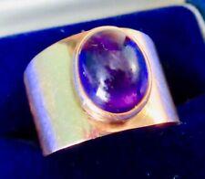 14K Rose Gold Cabochon Amethyst Wide Shank Ring Vintage ca 1960s