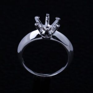 7.5MM ROUND 925 STERLING SILVER SOLITAIRE SETTING ENGAGEMENT SEMI MOUNT RING