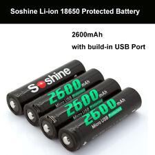 4Pcs Soshine 18650 100% Li-ion 2600mAh Protected Battery Built-In Micro USB Port