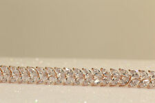 "Rose gold diamond finish 7.25"" tennis bracelet 3ct 18k"