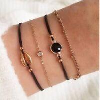 Damen Armbänder 4er Set Armband Gold Schmuck Boho Kette Strass Muschel Perle ♥