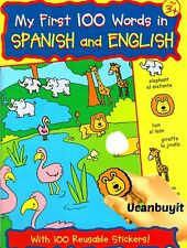 MY FIRST 100 WORDS SPANISH & ENGLISH Bilingual Activity Sticker Workbook Ages 3+