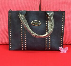 Dasein Blue Studded Faux Leather Flight Bag A161AS