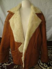 Genuine Shearling Original Western Brown Leather Lambskin Ranch Jacket Coat 36