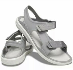 CROCS Swiftwater Expedition Sport Sandals Smoke Gray & Pearl size 6 Women's NEW