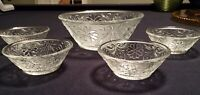 5-pc Tiara Indiana Glass Sandwich Design - Clear or Amber Salad /Ice Cream Bowls
