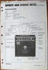 Roland Spirit-40A Guitar Amp Original Service Notes Manual Schematics, 1984